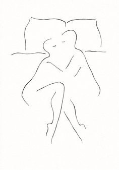 Man and woman in bed. Minimalist black and white line art by Siret Roots