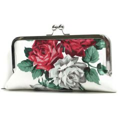 Free U.S. shipping, Clutch purse,  Bridesmaids gifts, roses, red, gray, vintage fabric