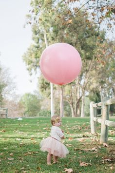 Film style baby portraits , Blair Nicole Photography. Giant pink balloon. First Birthday photos.