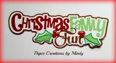 Craftecafe Mindy Christmas Fun title premade paper piecing for scrapbook page
