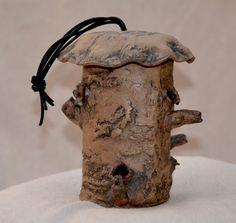 Ceramic Tree Trunk Bird Feeder. Garden Organic Zen by ZenCeramics