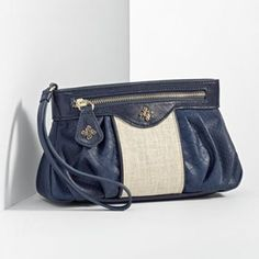 Navy and Nude wristlet
