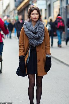 thick scarf, coat, tights #streetstyle