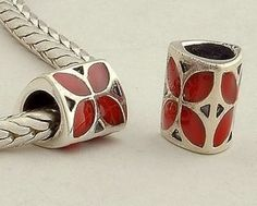 CLDY001B 925 Sterling Silver Red Enamel Clover Pandora Charms beads Pandora Clover Good Luck