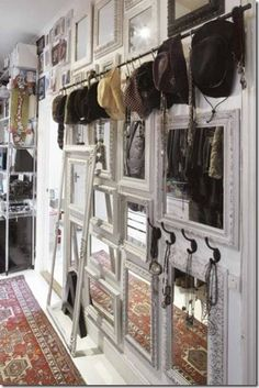 use a curtain rod for hanging bags, hats, or anything cute!