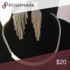 Gorgeous silver set. Dangling earrings. Awesome Beautiful Jewelry Necklaces