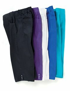 A wardrobe essential, our new capri offers instant comfort and style. Pick up a pair in every color to complete your latest looks. Features sparkling rhinestone detail at the tabbed hem. Pull-on style. Back elastic waistband. Five-pocket design. Faux zip placket. Catherines pants are specifically designed with the plus size woman in mind. catherines.com