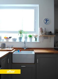 Kitchen Before & After: A London Kitchen Goes from Garish Blue to Clean and Serene — Reader Kitchen Remodel