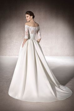 e7bd8a05147bd 2019 Satin Boat Neck Mid-Length Sleeves Wedding Dresses With Applique US$  259.00 TDPY5B63KP