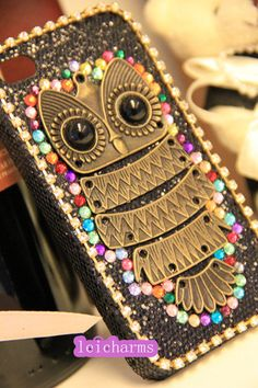New iphone 3/ 4/4s/5/5s/5c case samsung s3/s4/s4 active case,samsung note 1/2/ not0e 3 case.blackberry z10/Q10 case Rhinestone Vintage Owl on Etsy, £10.66