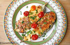 Gourmet Girl Cooks: Stuffed Eggplant Boats w/ Beef, Spinach, Feta & Tomatoes