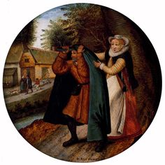 An example of it being thrown over someone. He's whole hand seems to wrap around the brim...    BRUEGHEL, Pieter, the Younger; Flemish Proverb, a wife hiding her infidelity from her husband under a blue cloak, 1564-1638