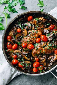 Drunken Chicken Marsala with Tomatoes - simple pan-fried chicken with a savory Marsala wine sauce, golden buttery mushrooms, and tomatoes.