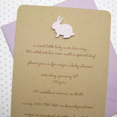 Lilac Bunny Recycled Kraft Baby Shower Invitations