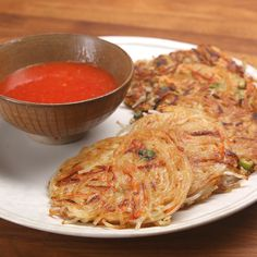 Rice Noodle Pancakes With Chili Sauce Recipe by Tasty