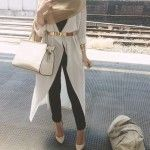 white cardigan hijab outfit