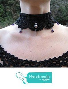 Collier gothique ras du cou raven crow skull crâne corbeau choker victorien gothic victorian au crochet perles gouttes améthyste violettes gemstones cadeau de Noël à partir des LilithCreation-Boutique https://www.amazon.fr/dp/B01M2A40U6/ref=hnd_sw_r_pi_dp_-95eybZ2QF08R #handmadeatamazon