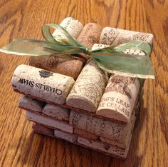Recycled Wine Cork Coasters with Ribbon  Find it Here: https://www.etsy.com/listing/168016136/recycled-unused-wine-cork-coasters-set?