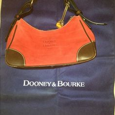 💥SOLD💥 Dooney & Bourke shoulder bag Red suede type material w/ dark brown leather handle w/ white stitching. Some worn leather on ends. Not torn. Inside very clean. Slight signs of wear on outside. Authentic. Comes with dust bag. See additional pics in closet Dooney & Bourke Bags Shoulder Bags