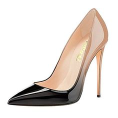 711d4ecbc869 VOCOSI Pointy Toe Pumps for Women,Patent Gradient Animal Print High Heels  Usual Dress Shoes Nude-Black 7 US