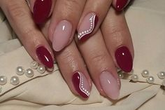 Nice burgundy manicure with white details Rose Nails, Glitter Nails, Manicure, Nail Designs, Burgundy, Detail, Nice, Beauty, Finger Nails
