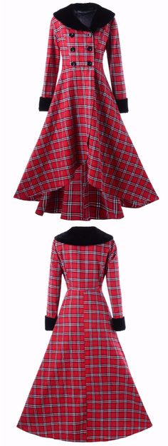 Plus Size Plaid Double Breasted Swing Coat