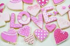 Valentine's Day Sugar Cookies - pink LOVE hearts - 2 dozen Cute decorated heart sugar cookies - Perfect Sweet Romantic Fun Gift