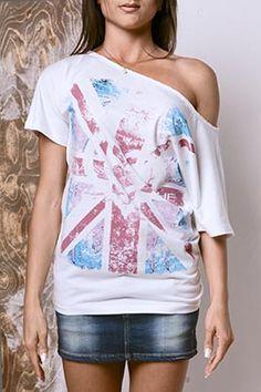 """100% PRODOTTO ITALIANO.  Monospalla Donna Modello London in Jersey 100% Cotone Lavaggio tinto capo fade """"Effetto Used Wash"""" Stampa bandiera con cuore al centro Inglese a 4 colori. http://www.danseapache.com/"""