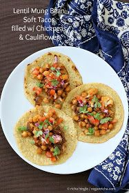 Lentil Mung Bean Soft Tacos Stuffed with Chickpea and Cauliflower