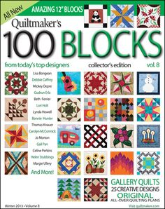 Giveaway! Patch Pals, 100 Blocks Volume 8 and March/April Quiltmaker. http://www.quiltmaker.com/blogs/quiltypleasures/2014/02/jumping-on-the-bonnie-bandwagon-giveaway/