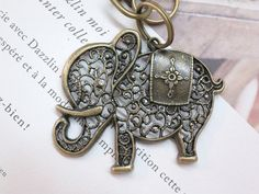 Vintage Brass Bronze Elephant Pendant Keychain. Necklace Lanyard (No.1) on Etsy, $2.80
