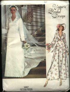 Vogue Sewing Pattern 1487 Misses Size 16 Retro  Bridal Dress Wedding Gown Bridesmaid Train  $17.99