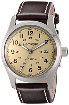 Men's Wrist Watches - Hamilton Mens H70555523 Khaki Field Stainless Steel Watch with Brown Leather Band * See this great product.