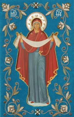 The Holy Protection of the Mother of God - Hand-Painted Icon from the Workshop of St. Elisabeth Convent