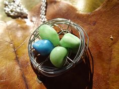 $23 - www.etsy.com/shop/JustHeathersJewelry - Bird's nest necklace - wire wrapped - green and blue jade nugget beads - birdnest - robins egg nest - jade - gift idea - handmade. Use coupon code PINS15 for 15% off your total purchase.
