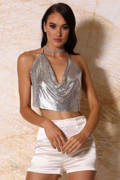 c88ba5a0b16e3 Turn every head as you step out in this striking and dramatic crop top with  diamonte