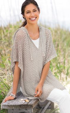 Want to add something with crochet to my wardrobe -- like this summer poncho. Casual elegance.