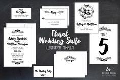 Floral Wedding Invitation Suite  @creativework247
