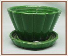 Shawnee Pottery Flower Pot w Saucer Deep Forest Green No 463