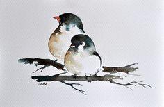 Peinture à l'aquarelle originale deux petits oiseaux Illustration 6x9.5 cm