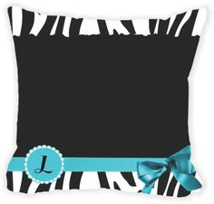 Rikki Knight® Letter ' L ' Sky Blue Zebra Bow Monogram Microfiber Throw Décor Pillow Cushion 16' Square Double Sided Print (Insert Included)