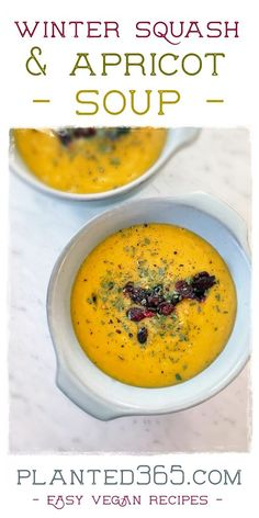 Winter squash and apricot soup has all the rich flavors of fall and an unexpected tart, sweetness from the apricots. The working time to put this together is minimal. Just roast the squash and put everything in a blender.