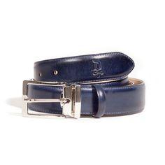 Midnight Blue/Satin Silver Belt   DONUM Men's Footwear & Accessories