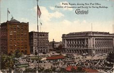 Historic Flats Stadium etc Aerial View of Cleveland Ohio Postcard Downtown