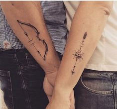 Couple Matching Tattoos Ideas For Valentine's Day;Tattoos couples tattoo 30 Valentine's Day Couple Matching Tattoo Designs - Page 3 of 30 Cute Couple Tattoos, Cute Tattoos, Body Art Tattoos, New Tattoos, Sleeve Tattoos, Couple Tattoo Ideas, Disney Couple Tattoos, Awesome Tattoos, Couple Ideas