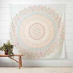 Pottery Barn Teen Mandala Tapisserie, Blau / Orange - ONE Dekor Style Blue Tapestry, Tapestry Bedroom, Mandala Tapestry, Tapestry Wall Hanging, Wall Hangings, Rose Gold Tapestry, Bedroom Colors, Bedroom Decor, Wall Decor