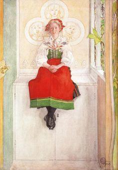 Carl Larsson (1853-1919) - 'Lisbeth in her Sundborn Dress', 1908 - Watercolor