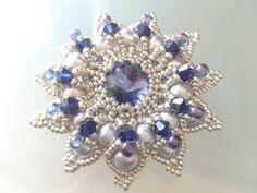 handmade beadwoven Brooch with Swarovski Rivoli by tizianat