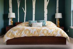 dark teal bedroom with white bark