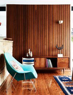 Midcentury modern design in wood living space